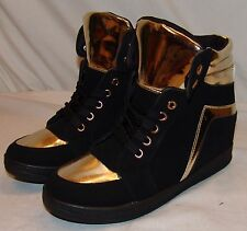 3d34dd33cca Via Pinky Collection Shoes 9 Womens Black Gold Platform Wedge Heel