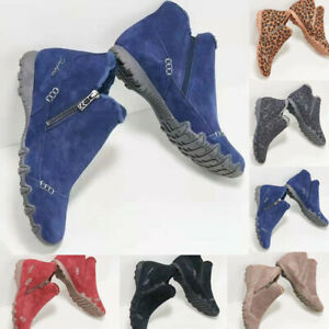 Women Winter Warm Ankle Boots Flat Side Zip Round Toe Soft Bootie Casual Outdoor