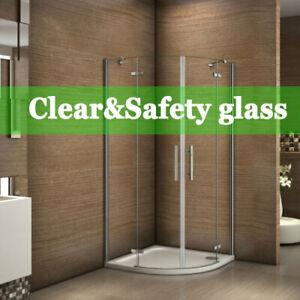 Frameless Quadrant Shower Enclosure Hinge Door Walk in Tempered Clear Glass