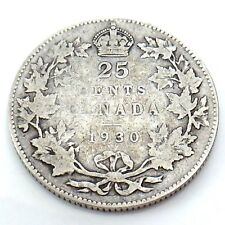 1930 Canada 25 Twenty Five Cents Quarter Silver King George V Canadian Coin G750