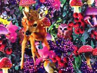 """Digitaldruck Baumwolljersey,  """"Bambi-Eule"""", 150 cm br, Mw, ab 0,5 m (€ 10,80/qm)"""