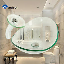 Bathroom Glass Oval Sink Tempered Transparent Waterfall Faucet Pop Drain Combo