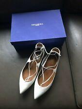 "Aquazzura White Leather ""Christy"" Ballerina Flats Sz 39.5 with Box"