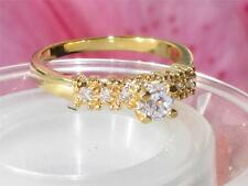 rg116 WOMENS PRETTY ELEGANT SIMULATED DIAMOND SOLITAIRE RING GOLD SALE  RING
