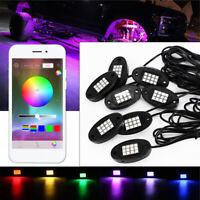 8 Pcs LED IP68 Waterproof RGB Rock Light Lamp For Offroad Truck Boat 24W