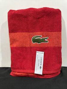 """NWT Lacoste Red Bath Towel 100% Cotton 30"""" x 54"""" Big Crocodile Logo Beach Lot 4"""