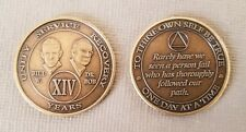 Recovery coins AA 14 Year Bronze Bill & Bob Medallion Tokens Sobriety Birthday