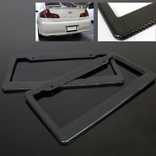 Pack 2 JDM Black Carbon Look License Plate Frame Cover Front & Rear Universal