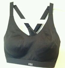 BNWT Victoria's Secret VSX Sport Black Cross strap Exercise Bra Top 34C support