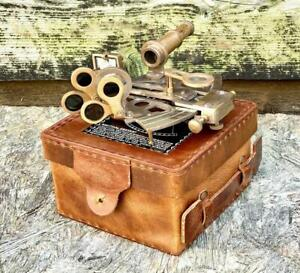 """4.5"""" Large Brass Sextant With Genuine Leather Box Nautical Navigation Collection"""