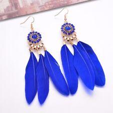 "New Feather Earrings Gold Light Cobalt Blue Women 4""  Shoulder Dusters"