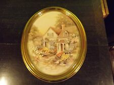 Oval Gold Syroco Framed Homco Home Interiors Print Cottage Floral Rock Path