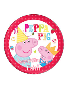 Peppa Pig & George Edible Cake Image Personalised Birthday Decoration Topper