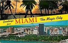 Greetings from Miami The Magic City Florida FL 1970's Postcard
