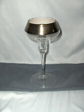Vintage Dorothy Thorpe Glass Candlestick Holder Sterling Silver Band NICE