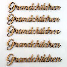 Grandchildren Word Cutout 5 pack MDF Laser Cut Wooden Craft Blank Family Tree