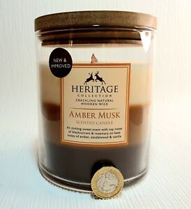 HERITAGE Massive crackling 1 woodwick candle 570g.rosemary, amber, 80h burn time