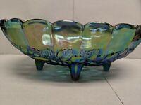 Vintage Indiana Glass-footed Blue Fruit Bowl Harvest Grape Iridescent Carnival
