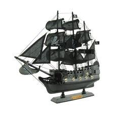 Wood Black Pirate Ship Model Calico Jack Rackham Jolly Roger Flag&Display Stand