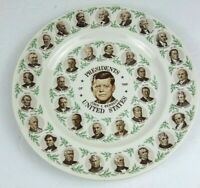 Vintage Past Presidents in order, leading up to John F Kennedy, Decorative Plate