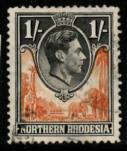 NORTHERN RHODESIA SG40 1938 1/= YELLOW-BROWN & BLACK FINE USED