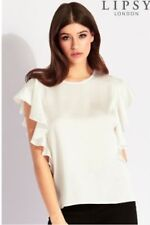 Lipsy white ruffle t-shirt top size 14 blouse summer party evening