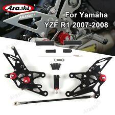 Arashi Rearsets Foot pegs Rear Set For Yamaha YZF R1 2007-2008 YZFR1 YZF-R1 BK