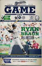 RYAN BRAUN ON COVER MILWAUKEE BREWERS 2014 OFFICIAL GAMEDAY PROGRAM ISSUE #21