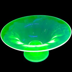 "Uranium Vaseline Glass Footed Fruit center piece bowl, 9"" wide, 4 1/2"" tall"