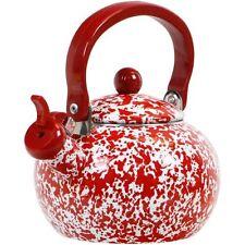 New Reston Lloyd Red Marble - Whistling Harvest Teakettle