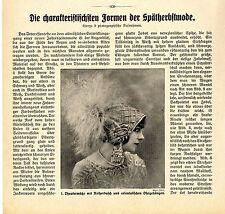 Spätherbstmode der Kaiserzeit Theatermütze mit Reiherbusch orientalischen...1911