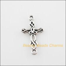 30Pcs Tibetan Silver Tone Flower Cross Charms Pendants Connectors 13x22.5mm