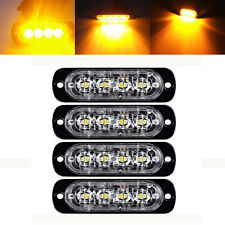 4X Amber 4-LED Car Flash Truck Emergency Beacon Light Bar Hazard Strobe Warning