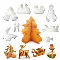 8pcs 3D Christmas Cookie Cutter Stainless Steel Cut Candy Biscuit Mold Cooking