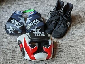 Boxing Training Gear - 16 oz. Gloves, Face Guard, & Size 12 Men's Shoes