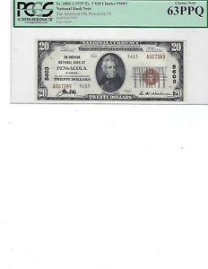 1929 $20 National Bank Note FR1802-2 CH5603 Pensacola, Florida PCGS 63 UNC PPQ!!