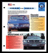 Chevy Corsair Corsa Ford Mustang GT (USA) Spec Sheet 1998 HOT CARS Rivals #11.37