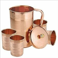 100% Copper 1.5 Ltr Jug With 4 Pcs Glass Set for Ayurvedic Healing