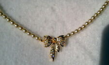 """PAVE CRYSTAL BOW TIE WITH IVORY GLASS PEARL NECKLACE 17"""" LONG MADE IN CZECH"""