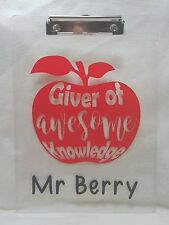Personalised Thank you Teacher Teaching Assistant Awesome Knowledge Clipboard