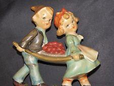 "Vtg 1950s ""Diamond"" Japan hand-painted 5-1/2"" ceramic figurine farm boy & girl"