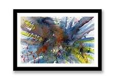 Azul Y Rojo Abstracto Acuarela Pintura Regalo único (impresión) ID: 003