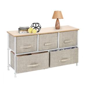 2-Tier Wide Closet Dresser Nursery Tower 5 Easy Pull Fabric Drawer Grey Storage