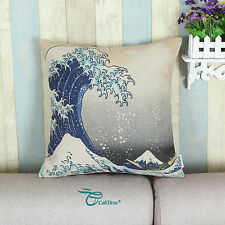 Cushion Covers Throw Pillow Cases Japanese Hokusai The Great Wave Kanagawa 45cm