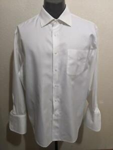 """NORDSTROM Tailored Fit White Twill French Cuff Cotton Dress Shirt   17"""" x 33"""""""