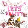 Pet Dog Birthday Party Supplies LETS PAWTY  Balloons Banner Paw Print Decoration