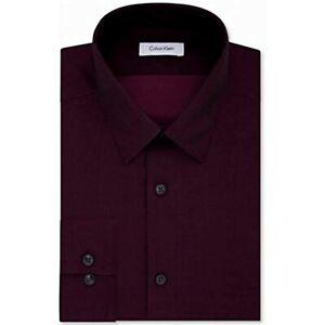 Calvin Klein Men's Slim-Fit Non-Iron Dress Shirt, Maroon, Size L 16, $75, NwT