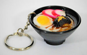 ORIENTAL CHINESE FOOD SIMULATION, BLACK BOWL, KEYCHAIN, DIORAMA, DOLL FOOD, NEW