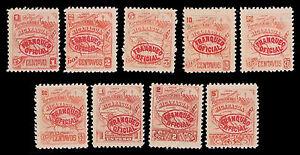1896 NICARAGUA OFFICIALS #O82-O9O - MOGH - FINE & BETTER - CV$29.00 (E#1169)