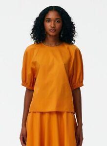 Tibi Eco Poplin Shirred Sleeve Top Size 4